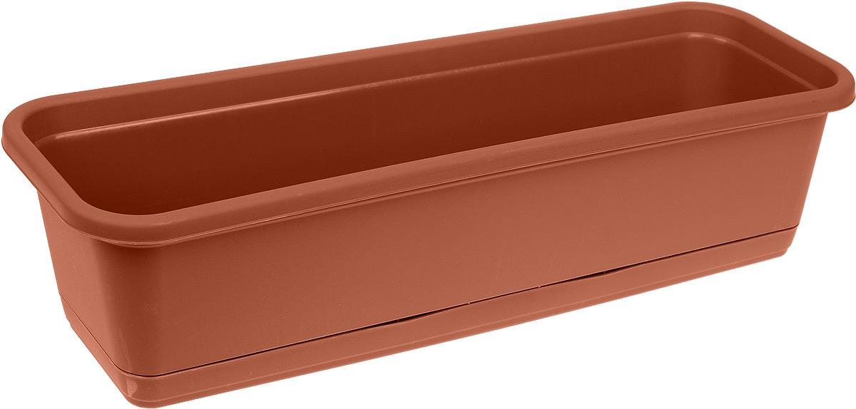 Балконный ящик Idea, с поддоном, цвет: терракотовый, 60 х 18 смB-0304Балконный ящик Idea изготовлен из прочного полипропилена и оснащен поддоном для стока воды. Изделие прекрасно подходит для выращивания рассады, растений и цветов в домашних условиях. Размер ящика (с учетом поддона): 60 х 18 х 16 см.