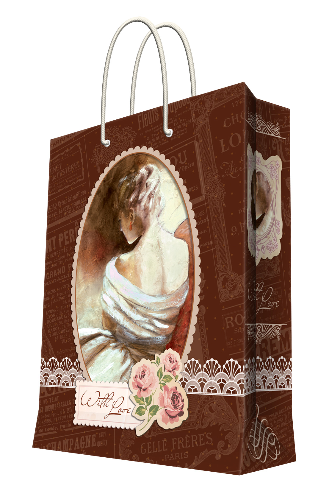 Пакет подарочный Феникс-Презент После бала, 26 х 12,7 х 32,4 смK100Подарочный пакет Феникс-Презент После бала, изготовленный из плотной бумаги, станет незаменимым дополнением к выбранному подарку. Дно изделия укреплено картоном, который позволяет сохранить форму пакета и исключает возможность деформации дна под тяжестью подарка. Пакет выполнен с глянцевой ламинацией, что придает ему прочность, а изображению - яркость и насыщенность цветов. Для удобной переноски на пакете имеются две ручки из шнурков.Подарок, преподнесенный в оригинальной упаковке, всегда будет самым эффектным и запоминающимся. Окружите близких людей вниманием и заботой, вручив презент в нарядном, праздничном оформлении.Плотность бумаги: 128 г/м2.