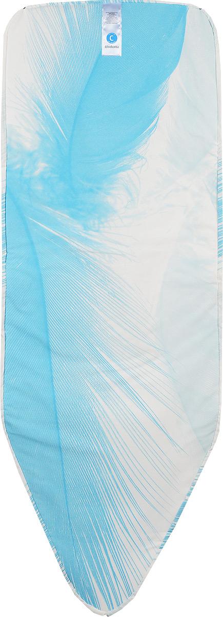 Чехол для гладильной доски Brabantia Перо, с войлоком, 124 х 45 смЧПА_ГазетаЧехол для гладильной доски Brabantia Перо с войлоком подарит вашей доске новую жизнь и создаст идеальную поверхность для глажения и отпаривания белья. Изделие выполнено из натурального 100% хлопка с подкладкой из поролона (4 мм) и войлока (4 мм). Чехол разработан специально для гладильных досок Brabantia и подходит для большинства утюгов и паровых систем. Благодаря системе фиксации (эластичный шнурок с ключом для натяжения и резинка с крючками по центру) чехол легко крепится к гладильной доске, а поверхность всегда остается гладкой и натянутой. С помощью цветной маркировки на чехле и гладильной доске вы легко подберете чехол подходящего размера.Размер рабочей поверхности чехла: 124 х 45 см.