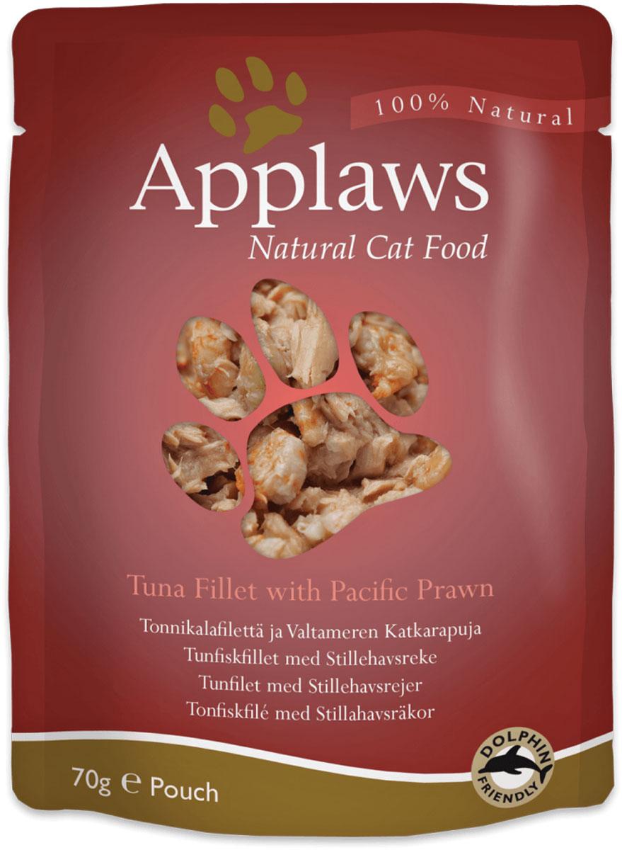 Консервы для кошек Applaws, с тунцом и королевскими креветками, 70 г0120710Консервы Applaws изготовлены из нежнейшего филе тунца в собственном бульоне с лакомыми добавками, как королевские креветки. В состав корма входят только натуральные продукты, питательные и минеральные вещества, белки, и ничего лишнего. Не содержит ГМО, синтетических добавок, усилителей вкуса и красителей. Консервы Applaws - это настоящее удовольствие для кошек. Состав: филе тунца - 54%, рыбный бульон - 24%, креветки - 20%, рис - 2%.Пищевая ценность в 100 г: белок - 18%, жиры - 0,4%, зола - 1%, клетчатка - 0,1%, влага - 77%.Вес: 70 г.Товар сертифицирован.