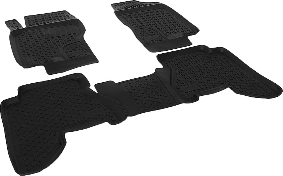 Коврики в салон автомобиля L.Locker, для Nissan Pathfinder III (04-), 4 штВетерок 2ГФКоврики L.Locker производятся индивидуально для каждой модели автомобиля из современного и экологически чистого материала. Изделия точно повторяют геометрию пола автомобиля, имеют высокий борт, обладают повышенной износоустойчивостью, антискользящими свойствами, лишены резкого запаха и сохраняют свои потребительские свойства в широком диапазоне температур (от -50°С до +80°С). Рисунок ковриков специально спроектирован для уменьшения скольжения ног водителя и имеет достаточную глубину, препятствующую свободному перемещению жидкости и грязи на поверхности. Одновременно с этим рисунок не создает дискомфорта при вождении автомобиля. Водительский ковер с предустановленными креплениями фиксируется на штатные места в полу салона автомобиля. Новая технология системы креплений герметична, не дает влаге и грязи проникать внутрь через крепеж на обшивку пола.