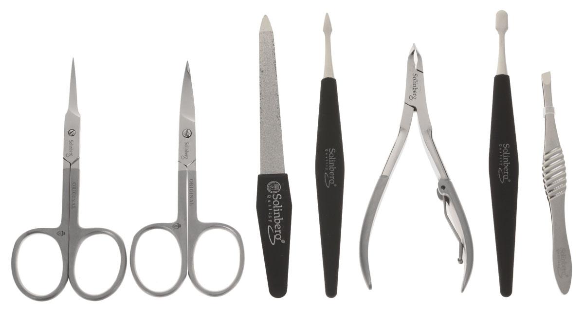Маникюрный набор Solinberg Comfort Line FD-2502, 7 предметов (матовый), футляр - натуральная кожа.RKM-1701Маникюрный набор Solinberg Comfort Line FD-2502, 7 предметов (матовый), футляр - натуральная кожа.
