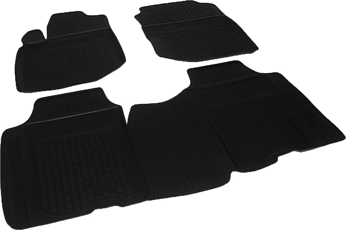 Коврики в салон автомобиля L.Locker, для Honda Jazz II (08-), 4 штTER-160f GYКоврики L.Locker производятся индивидуально для каждой модели автомобиля из современного и экологически чистого материала. Изделия точно повторяют геометрию пола автомобиля, имеют высокий борт, обладают повышенной износоустойчивостью, антискользящими свойствами, лишены резкого запаха и сохраняют свои потребительские свойства в широком диапазоне температур (от -50°С до +80°С). Рисунок ковриков специально спроектирован для уменьшения скольжения ног водителя и имеет достаточную глубину, препятствующую свободному перемещению жидкости и грязи на поверхности. Одновременно с этим рисунок не создает дискомфорта при вождении автомобиля. Водительский ковер с предустановленными креплениями фиксируется на штатные места в полу салона автомобиля. Новая технология системы креплений герметична, не дает влаге и грязи проникать внутрь через крепеж на обшивку пола.