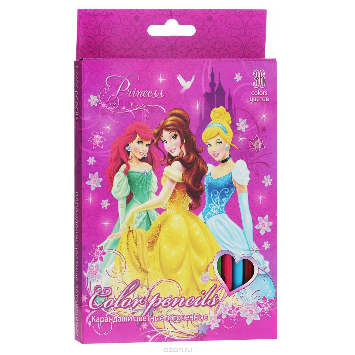 Набор цветных карандашей, 36 шт. Цветные карандаши длиной 17,8 см; заточенные; дерево - липа; цветной грифель 2,65 мм; PrincessL2531240Канцелярский набор Disney Princess станет незаменимым атрибутом в учебе любого школьника.