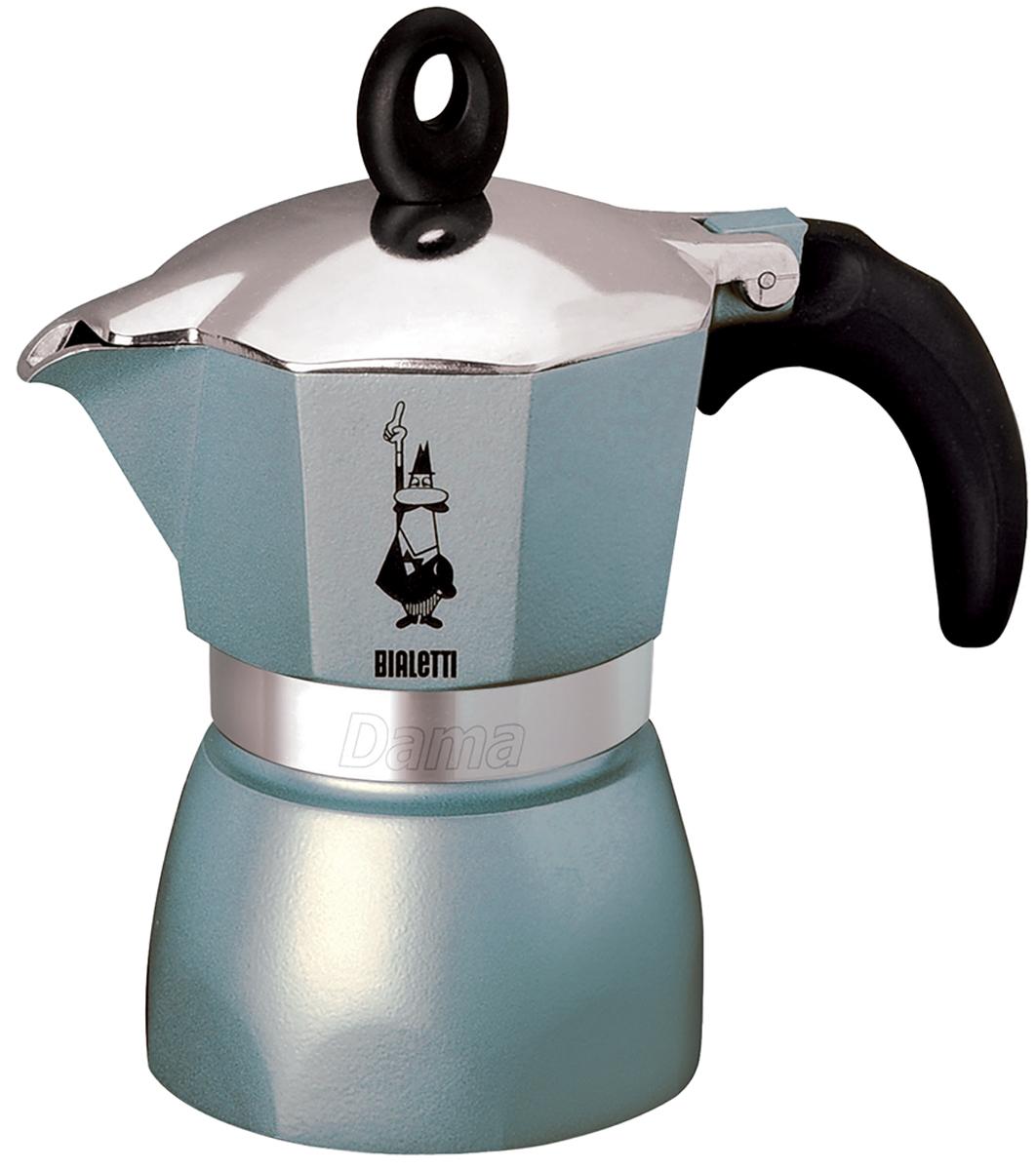 Кофеварка гейзерная Bialetti Dama Glamour, цвет: голубой, 3 порции54 009312Гейзерная кофеварка Bialetti Dama Glamour с современным ярким дизайном создана для тех, кто любит творческие кофе-брейки с интригующим и манящим ароматом. Изделие выполнено из алюминия, снабжено удобной ненагревающейся ручкой с прорезиненным покрытием. В гейзерной кофеварке кофе готовится за счет давления пара. Изделие имеет две емкости: верхнюю - для готового кофе, и нижнюю - для воды. На нижнюю емкость установлен фильтр в форме воронки. При нагревании часть воды в нижней емкости превращается в пар. Со временем его давление растет, и постепенно пар начинает выдавливать кипящую воду вверх. Вода проталкивается через молотый кофе, и полученный напиток выплескивается в верхнюю емкость. Когда вся жидкость из нижней емкости переместится в верхнюю, кофе готов. По принципу действия кофеварка напоминает гейзер, от чего и получила свое название. Предназначена для приготовления кофе на электрических и газовых плитах, а также других нагревающих поверхностях, кроме индукционных плит. Не рекомендуется мыть в посудомоечной машине. Высота (без учета крышки): 12,5 см. Диаметр (по верхнему краю): 9 см.