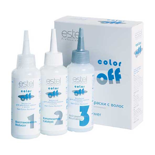 Estel Color off Эмульсия для удаления краски с волос 3*120 млC/FEstel Color off Эмульсия для удаления краски с волос:Надежно удаляет косметический цвет с волос.Сохраняет натуральный пигмент волос.Не содержит осветляющих компонентов и аммиака.Не осветляет волосы.Дает возможность корректировать цвет волос непосредственно после окрашивания.Гарантирует безопасное и бережное удаление красителя.