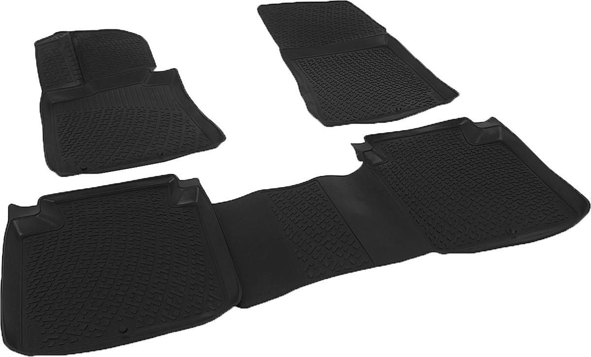 Коврики в салон автомобиля L.Locker, для Kia Quoris sd (12-), 4 штАксион Т33Коврики L.Locker производятся индивидуально для каждой модели автомобиля из современного и экологически чистого материала. Изделия точно повторяют геометрию пола автомобиля, имеют высокий борт, обладают повышенной износоустойчивостью, антискользящими свойствами, лишены резкого запаха и сохраняют свои потребительские свойства в широком диапазоне температур (от -50°С до +80°С). Рисунок ковриков специально спроектирован для уменьшения скольжения ног водителя и имеет достаточную глубину, препятствующую свободному перемещению жидкости и грязи на поверхности. Одновременно с этим рисунок не создает дискомфорта при вождении автомобиля. Водительский ковер с предустановленными креплениями фиксируется на штатные места в полу салона автомобиля. Новая технология системы креплений герметична, не дает влаге и грязи проникать внутрь через крепеж на обшивку пола.