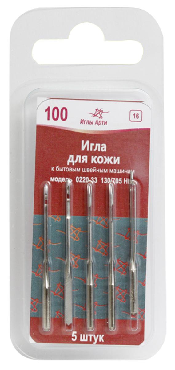 Иглы для швейных машин Иглы Арти, для кожи, №100, 5 штTD 0350Иглы для швейных машин Иглы Арти изготовлены из металла высокого качества. Предназначены для бытовых швейных машинок, используются для пошива и ремонта изделий из кожи. Иглы имеют форму острия в виде лезвия ножа: 33=LL. Модель: 0220-33. Размер: №100.