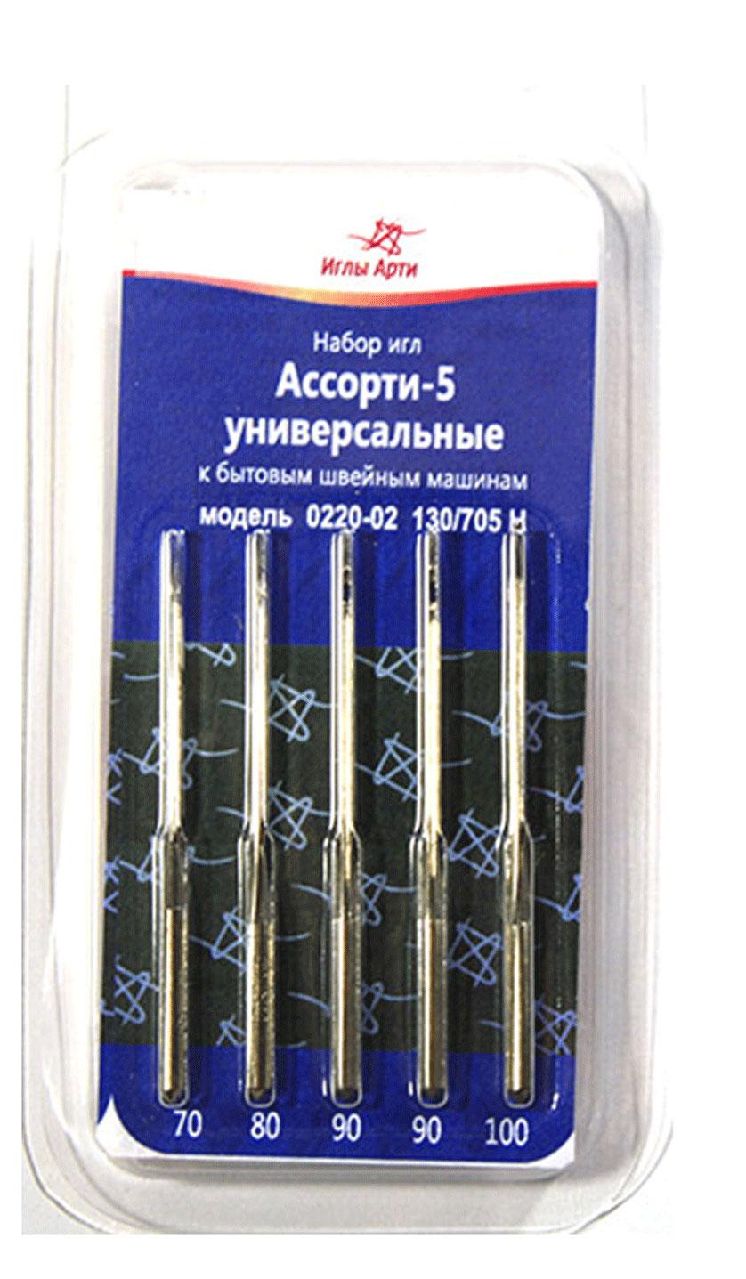 Набор игл для швейных машин Иглы Арти Ассорти 5, универсальные, 5 штSM 10-09Набор Иглы Арти Ассорти 5 состоит из 5 игл, изготовленных из металла высокого качества. Универсальные иглы подходят для искусственного шелка, органзы, льняного полотна, батиста, шифона, рубчатого плиса - то есть практически для любого легкого типа ткани. Иглы со слегка закругленным острием для бытовых швейных машин без труда прошьют мягкую ткань без стрелок. Иглы имеют стандартную форму острия 02, что соответствует международной принятой форме острия R. Размер игл: №70, 80, 90, 90, 100.