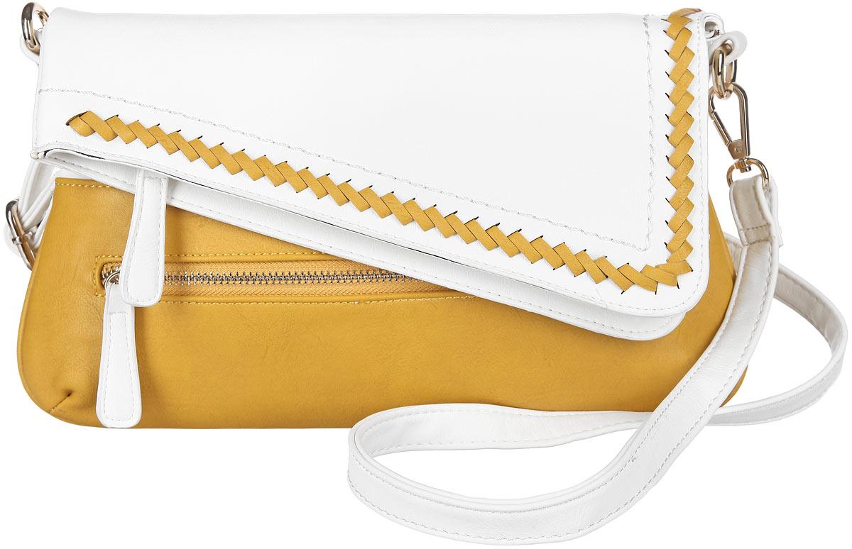 Сумка женская Orsa Oro, цвет: белый, желтый. D-840/9310130-11Стильная женская сумка Orsa Oro выполнена из искусственной кожи, оформлена металлической фурнитурой. Кант клапана дополнен контрастным плетением из кожаной ленты.Изделие содержит одно основное отделение, которое закрывается на застежку-молнию и дополнительно на клапан с магнитной кнопкой. Внутри расположен накладной кармашек для телефона и врезной карман на молнии. Лицевая сторона изделия дополнена врезным карманом на молнии. Сумка оснащена съемным плечевым ремнем регулируемой длины.Оригинальный аксессуар позволит вам завершить образ и быть неотразимой.