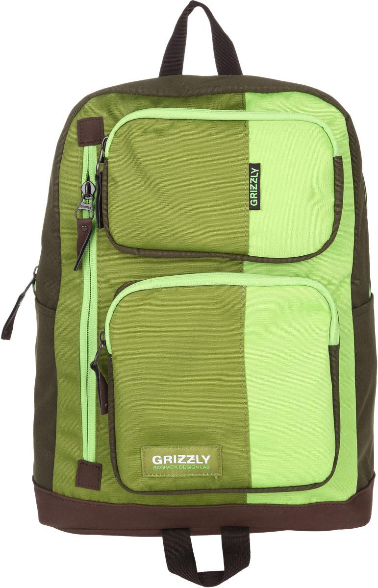 Рюкзак городской Grizzly, цвет: салатовый, 23 л. RU-619-1/2RD-750-6/1Стильный городской рюкзак Grizzly выполнен из таслана, оформлен нашивкой с символикой бренда.Рюкзак содержит одно вместительное отделение, которое закрывается на молнию. Внутри расположены: врезной карман на молнии и мягкий накладной карман на липучке, предназначенный для переноски планшета или небольшого ноутбука. Снаружи, по бокам изделия, расположены два накладных кармана. На лицевой стороне расположены: два объемных кармана, каждый из которых закрывается на молнию, и врезной карман на молнии. Задняя сторона рюкзака дополнена потайным карманом на молнии. Рюкзак оснащен петлей для подвешивания и двумя практичными лямками регулируемой длины.Практичный рюкзак станет незаменимым аксессуаром, который вместит в себя все необходимое.