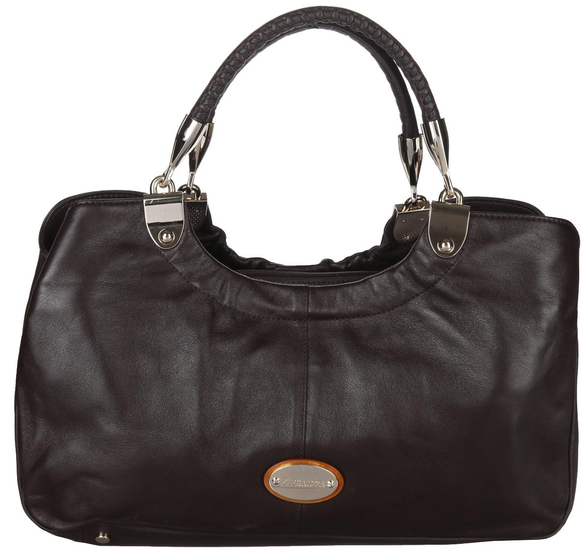Сумка женская Eleganzza, цвет: коричневый. ZB-5318S76245Стильная сумка Eleganzza изготовлена из натуральной кожи с зернистой фактурой, оформлена металлической фурнитурой с символикой бренда.Изделие содержит три отделения, два из которых закрываются на магнитные кнопки, а третье на застежку-молнию. Внутри расположен врезной карман на молнии. Изделие оснащено двумя практичными ручками, которые оформлены металлической фурнитурой и съемным плечевым ремнем регулируемой длины. Дно изделия дополнено металлическими ножками.Оригинальный аксессуар позволит вам завершить образ и быть неотразимой.