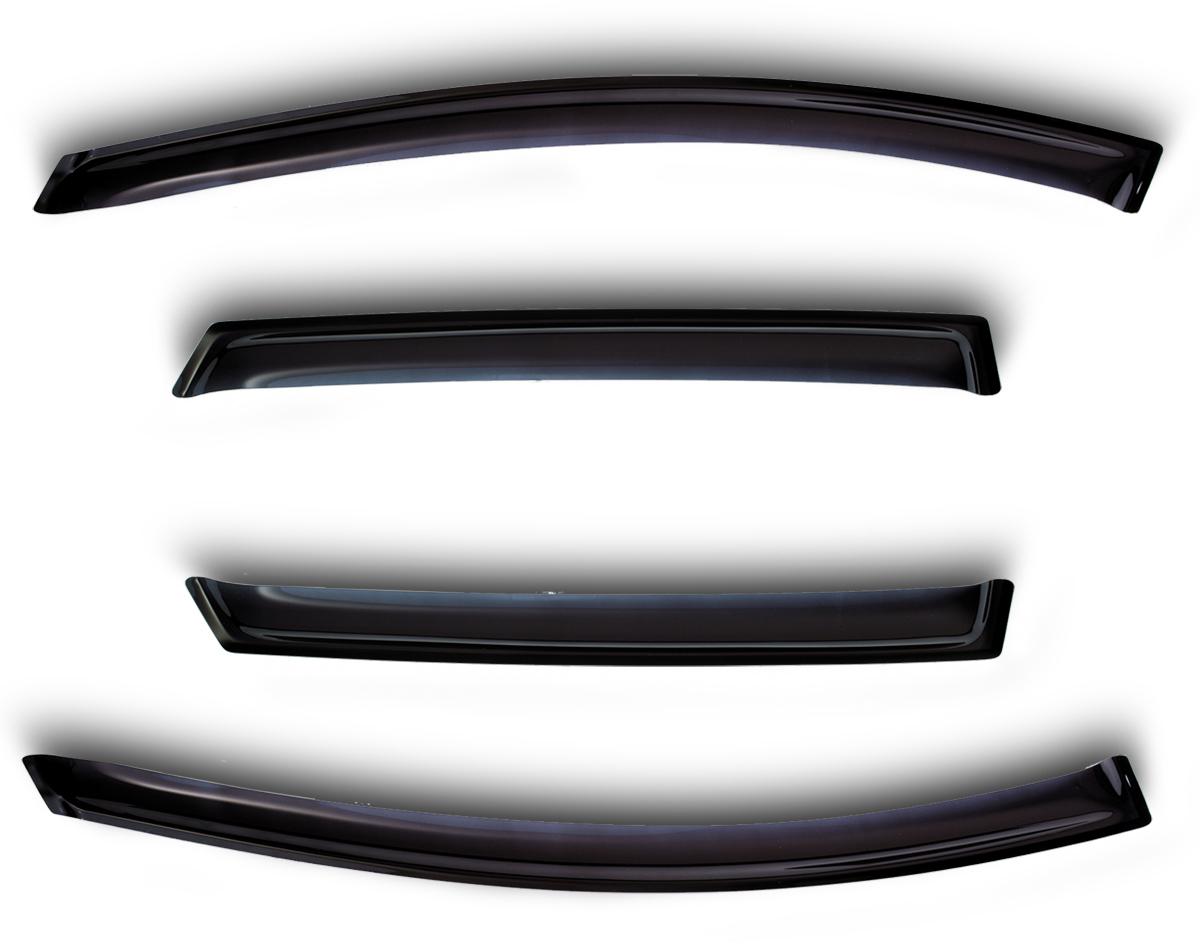 Комплект дефлекторов Novline-Autofamily, для Hyundai Sonata 2000- (Тагаз), 4 штSVC-300Комплект накладных дефлекторов Novline-Autofamily позволяет направить в салон поток чистого воздуха, защитив от дождя, снега и грязи, а также способствует быстрому отпотеванию стекол в морозную и влажную погоду. Дефлекторы улучшают обтекание автомобиля воздушными потоками, распределяя их особым образом. Дефлекторы Novline-Autofamily в точности повторяют геометрию автомобиля, легко устанавливаются, долговечны, устойчивы к температурным колебаниям, солнечному излучению и воздействию реагентов. Современные композитные материалы обеспечивают высокую гибкость и устойчивость к механическим воздействиям.