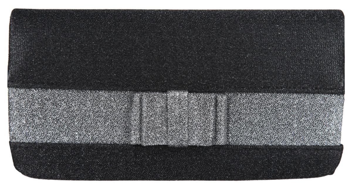 Клатч Eleganzza, цвет: черный, серебряный. ZZ-520710130-11Стильный клатч Eleganzza изготовлен из текстиля, оформлен кокетливым бантиком.Изделие содержит одно отделение, которое закрывается клапаном на магнитную кнопку. Внутри расположен накладной кармашек для мелочей. Изделие оснащено практичным плечевым ремнем-цепочкой.Оригинальный аксессуар позволит вам завершить образ и быть неотразимой.