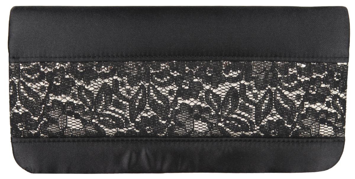 Клатч Eleganzza, цвет: черный. ZZ-16222-1S76245Элегантный клатч Eleganzza изготовлен из текстиля, оформлен кружевом.Изделие содержит одно отделение, которое закрывается клапаном на магнитную кнопку. Внутри расположен накладной кармашек для мелочей. Изделие оснащено практичным плечевым ремнем-цепочкой.Оригинальный аксессуар позволит вам завершить образ и быть неотразимой.