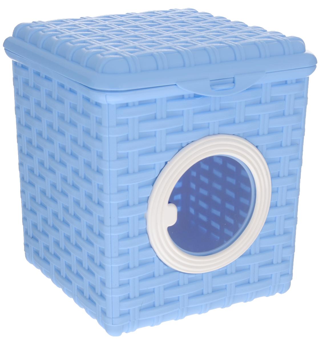 Контейнер для мелочей Violet, цвет: голубой, 18 см х 18,5 см х 14,5 см16050Контейнер Violet изготовлен из прочного пластика и оформлен плетением под корзинку. Контейнер имеет прозрачное пластиковое окошко и откидную крышку, которая закрывается на защелку. Контейнер Violet идеально подойдет для хранения различных мелочей.Объем: 3 л.