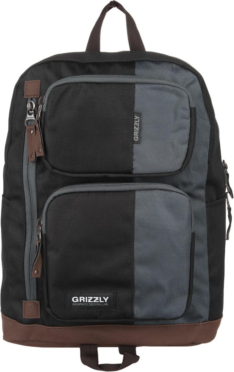 Рюкзак городской Grizzly, цвет: черный, 23 л. RU-619-1/46939201408Стильный городской рюкзак Grizzly выполнен из таслана, оформлен нашивкой с символикой бренда.Рюкзак содержит одно вместительное отделение, которое закрывается на молнию. Внутри расположены: врезной карман на молнии и мягкий накладной карман на липучке, предназначенный для переноски планшета или небольшого ноутбука. Снаружи, по бокам изделия, расположены два накладных кармана. На лицевой стороне расположены: два объемных кармана, каждый из которых закрывается на молнию, и врезной карман на молнии. Задняя сторона рюкзака дополнена потайным карманом на молнии. Рюкзак оснащен петлей для подвешивания и двумя практичными лямками регулируемой длины.Практичный рюкзак станет незаменимым аксессуаром, который вместит в себя все необходимое.