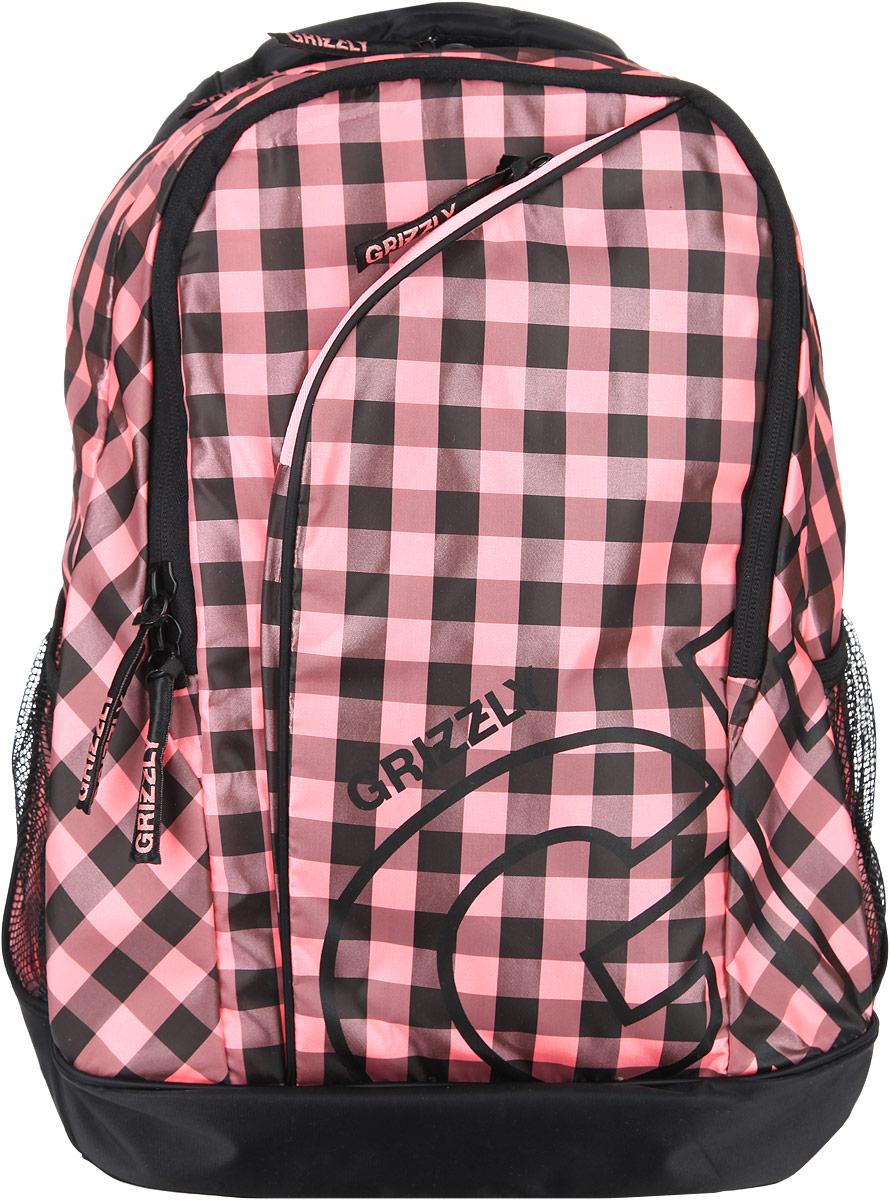 Рюкзак женский Grizzly, цвет: черный, розовый, 28 л. RD-640-2/1MABLSEH10001Стильный женский рюкзак Grizzly выполнен из полиэстера, оформлен клетчатым принтом и с символикой бренда.Рюкзак содержит два вместительных отделения, каждое из которых закрывается на молнию. Внутри первого отделения расположен накладной карман на молнии. Второе отделение дополнено органайзером, состоящим из двух накладных кармашков, врезным карманом на молнии и двух секций для ручек. Снаружи, по бокам изделия, расположены два сетчатых кармана. Лицевая сторона дополнена врезным карманом на молнии. Рюкзак оснащен петлей для подвешивания, двумя практичными лямками регулируемой длины.Практичный рюкзак станет незаменимым аксессуаром и вместит в себя все необходимое.