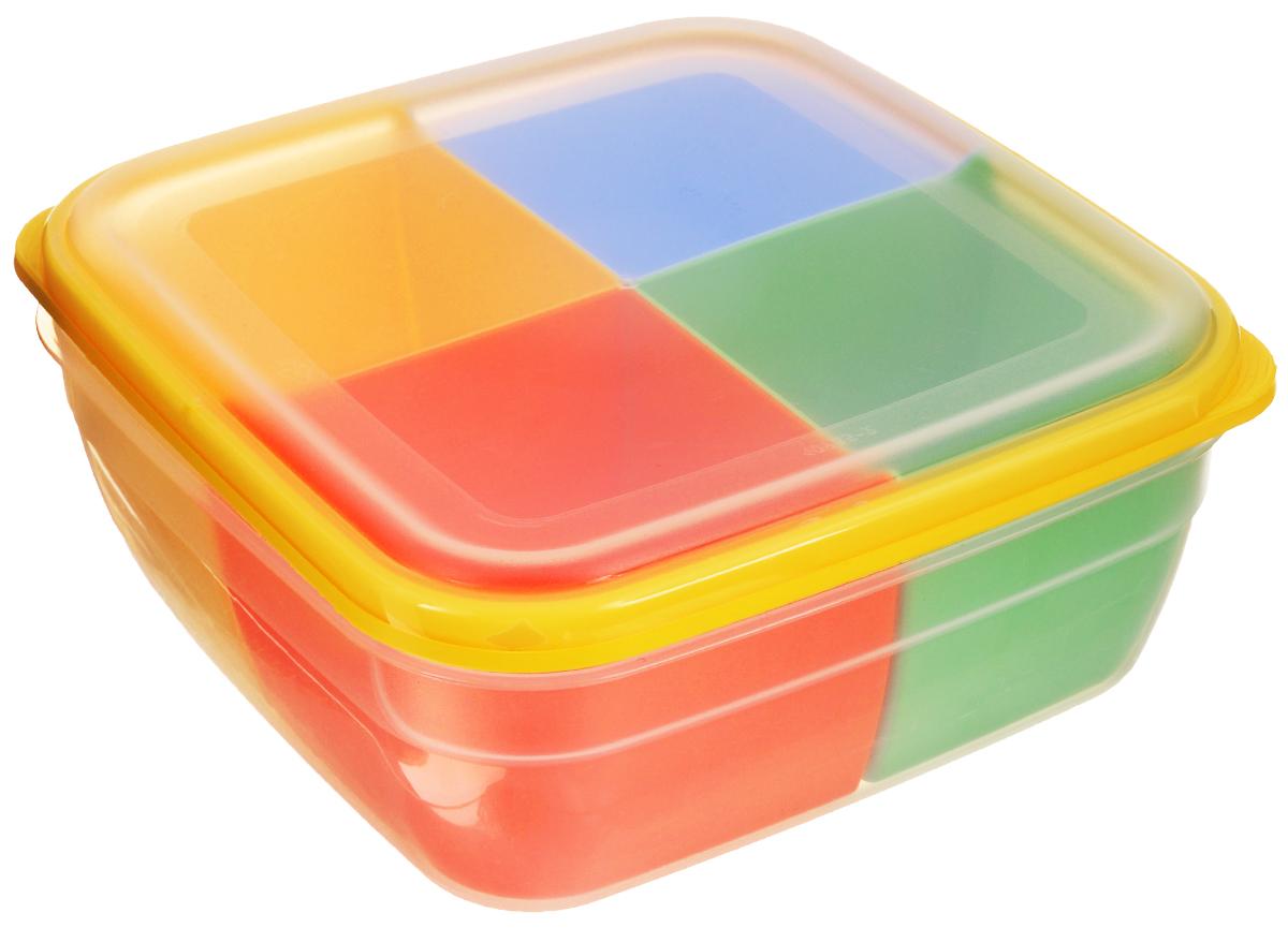 Контейнер-менажница для СВЧ Полимербыт, с крышкой, цвет: прозрачный, желтый, красный, 2,2 л21395599Контейнер-менажница для СВЧ Полимербыт изготовлен из высококачественного прочного пластика, устойчивого к высоким температурам (до +120°С). Крышка плотно закрывается, дольше сохраняя продукты свежими и вкусными. Контейнер снабжен 4 цветными съемными секциями, которые позволяют хранить сразу несколько продуктов или блюд. Он идеально подходит для хранения пищи, его удобно брать с собой на работу, учебу, пикник или просто использовать для хранения пищи в холодильнике.Можно использовать в микроволновой печи и для заморозки в морозильной камере. Можно мыть в посудомоечной машине. Размер секции: 9 х 9 х 7 см.