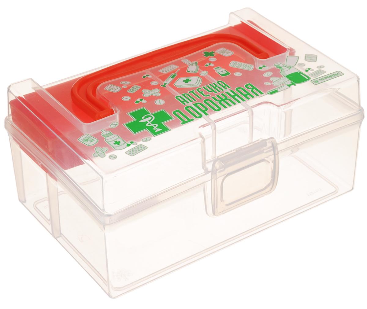 Контейнер для аптечки Полимербыт Аптечка дорожная, с вкладышем, цвет: оранжевый, прозрачный, 800 мл19199Контейнер Полимербыт Аптечка дорожная выполнен из прозрачного пластика. Для удобства переноски сверху имеется ручка. Внутрь вставляется цветной вкладыш с одним отделением. Контейнер плотно закрывается крышкой с защелками. Контейнер для аптечки Полимербыт Аптечка дорожная очень вместителен и поможет вам хранить все лекарства в одном месте.Размер вкладыша: 16 х 4 х 2 см.