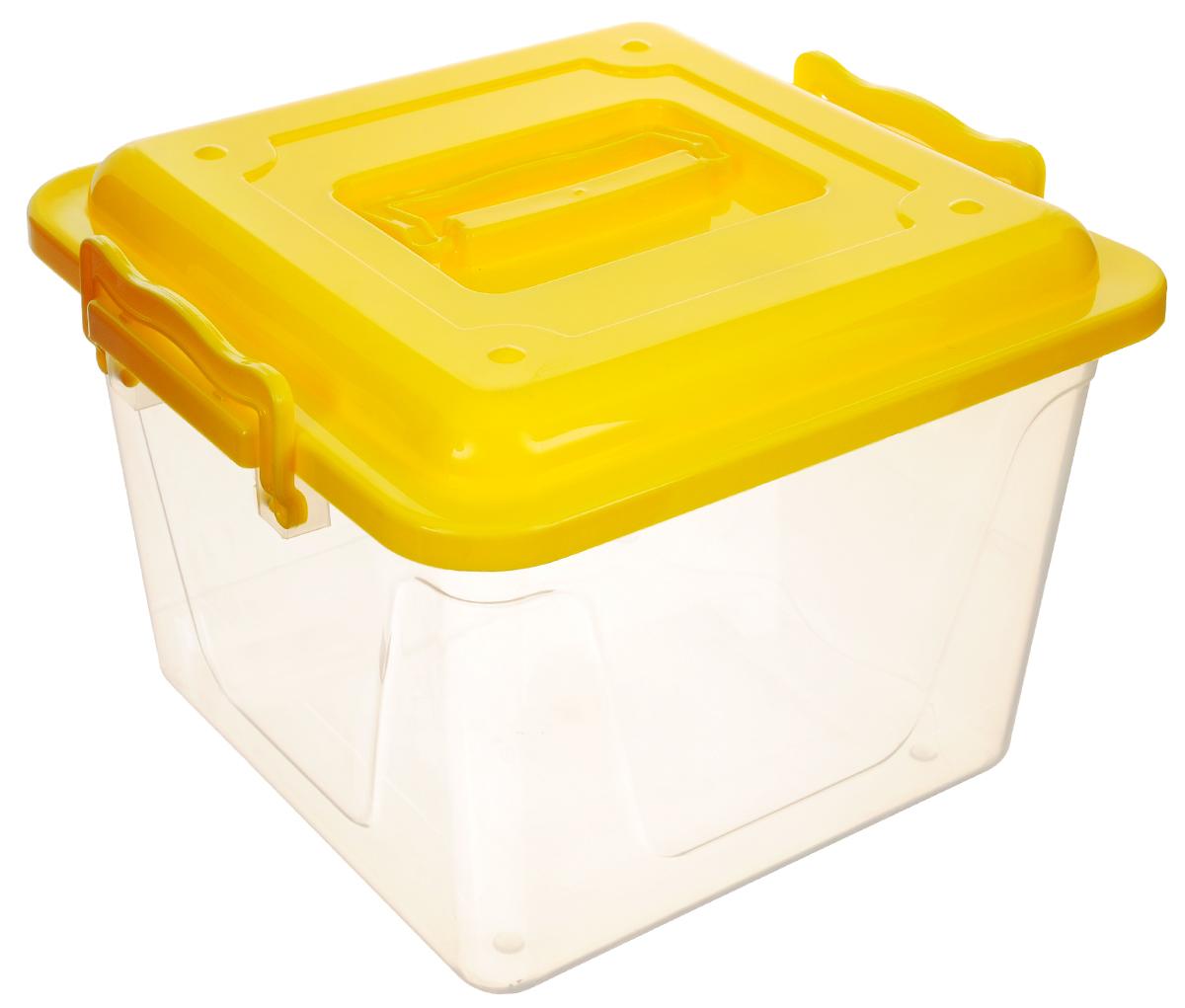 Контейнер Альтернатива, цвет: прозрачный, желтый, 8,5 л41619Контейнер Альтернатива прекрасно подойдет для хранения небольших игрушек, инструментов, швейных принадлежностей и многого другого. Он изготовлен из высококачественного пластика. Контейнер плотно закрывается крышкой с двумя защелками. Удобный и легкий контейнер позволит вам хранить вещи в полном порядке, а благодаря современному дизайну он впишется в любой интерьер. Контейнер имеет компактные размеры, поэтому не занимает много места.Размер (с учетом крышки): 26 х 27 х 20,5 см.