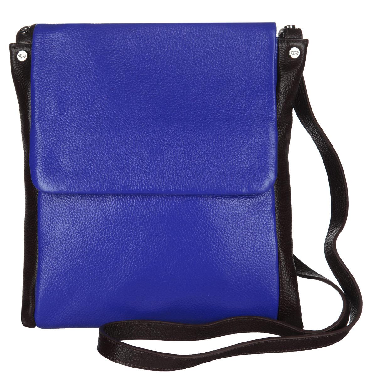 Сумка женская Labbra, цвет: синий, темно-коричневый. L-DL90239S76245Стильная сумка Labbra изготовлена из натуральной кожи с зернистой фактурой, оформлена металлической фурнитурой с символикой бренда.Изделие содержит одно отделение, которое закрывается клапаном на магнитную кнопку. Внутри изделия расположены два накладных кармашка для мелочей и врезной карман на молнии. Задняя сторона сумки дополнена врезным карманом на молнии. Изделие оснащено практичным плечевым ремнем регулируемой длины.Оригинальный аксессуар позволит вам завершить образ и быть неотразимой.