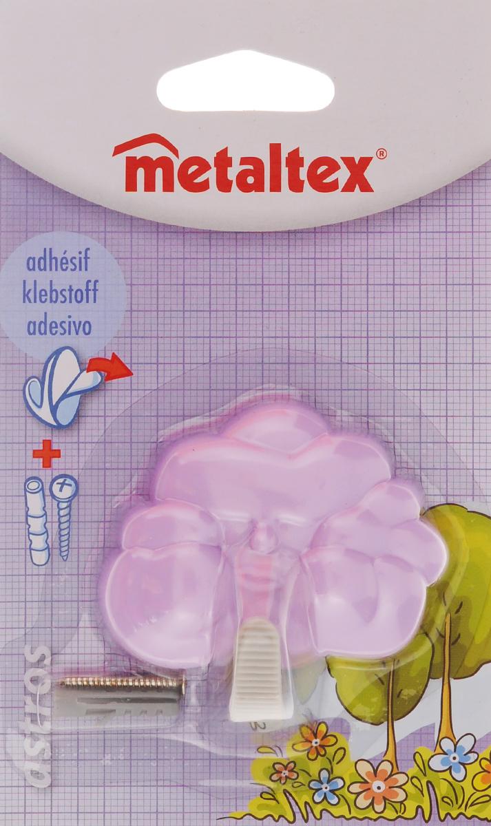 Крючок настенный Metaltex Astros, цвет: сиреневый531-401Настенный крючок Metaltex Astros изготовлен из высококачественного цветного пластика в виде тучки. Он прекрасно подойдет для вашей ванной комнаты или кухни и не займет много места, надежно выдержав все, что вы на него повесите. Крючок крепится на стену с помощью липкой ленты, которая находится на задней стороне крючка или при помощи шурупа (входит в комплект). Он приклеивается к гладкой, ровной и чистой поверхности. На него можно вешать полотенца или любые другие вещи.