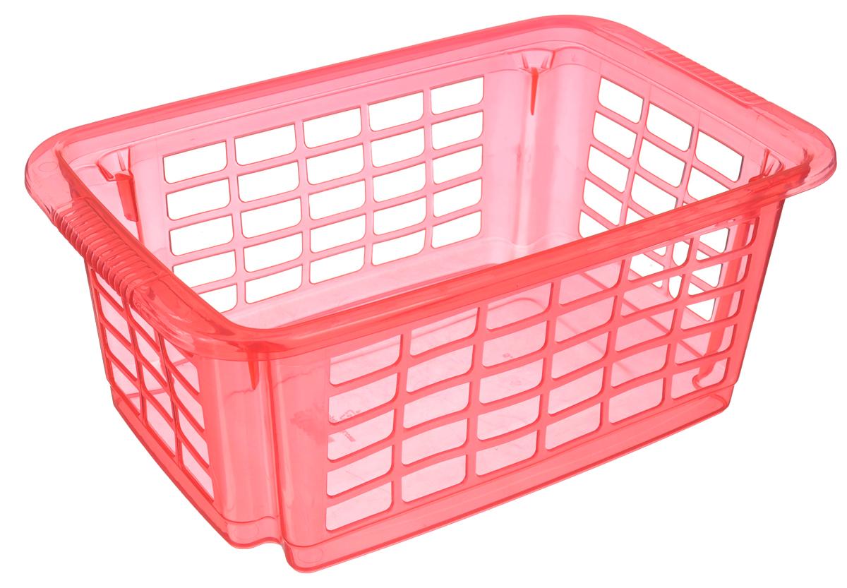 Корзина для хранения Dunya Plastik Стакер, цвет: розовый, 31 х 20 х 12,5 см контейнер dunya plastik цвет синий прозрачный 2 20 л