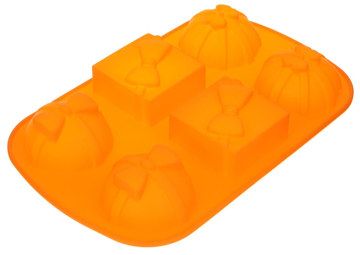 Форма для выпечки Marmiton Подарки, силиконовая, цвет: оранжевый, 27,5 х 17,5 х 3 см, 6 ячеек16083_оранжевыйФорма для выпечки Marmiton Подарки, выполненная из силикона в виде различных фигур будет отличным выбором для всех любителей бисквитов и кексов. Форма обладает естественными антипригарными свойствами. Неприлипающая поверхность идеальна для духовки, морозильника, микроволновой печи и аэрогриля. Готовую выпечку или мармелад вынимать легко и просто.С такой формой вы всегда сможете порадовать своих близких оригинальным изделием. Материал устойчив к фруктовым кислотам, может быть использован в духовках и микроволновых печах (выдерживает температуру от 230°C до - 40°C). Можно мыть и сушить в посудомоечной машине.Размер формы для выпечки: 27,5 х 17,5 х 3 см. Размер ячеек: 6,5 х 6,5 х 3 см; 7 х 7 х 3 см.