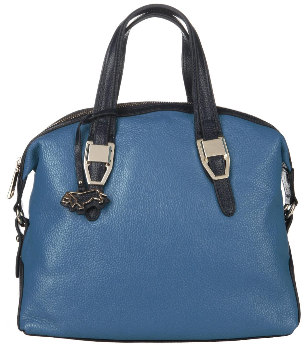 Сумка женская Labbra, цвет: голубой, темно-синий. L-23060-1L39845800Стильная женская сумка Labbra выполнена из натуральной кожи с фактурным тиснением и украшена брелоком с логотипом бренда. Изделие имеет одно основное отделение, закрывающееся на застежку-молнию. Внутри находятся два накладных открытых кармана, прорезной карман на застежке-молнии и накладной карман с отделением на застежке-молнии. Снаружи, на задней стенке предусмотрен прорезной карман на застежке-молнии. Сумка оснащена удобными ручками. В комплект входит съемный плечевой ремень. Основание сумки защищено от повреждений металлическими ножками. Изделие упаковано в фирменный чехол. Стильная сумка Labbra прекрасно дополнит ваш образ.