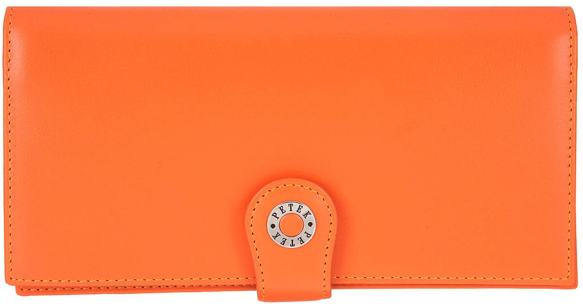 Портмоне женское Petek 1855, цвет: оранжевый. 441.167.24104-5860Стильное женское портмоне Petek 1855 изготовлено из натуральной кожи. Изделие закрывается на клапан и дополнительно на хлястик с застежкой-кнопкой. Портмоне содержит одно отделение для купюр, карман для документов с отделением на застежке-молнии для мелочи, два потайных кармана, шесть карманов для пластиковых карт и визиток, один из которых с прозрачным сетчатым окошком. Снаружи, под клапаном, располагаются шесть кармашков для пластиковых карт и визиток. Изделие упаковано в фирменную коробку.Стильное портмоне эффектно дополнит ваш образ и станет незаменимым аксессуаром на каждый день.