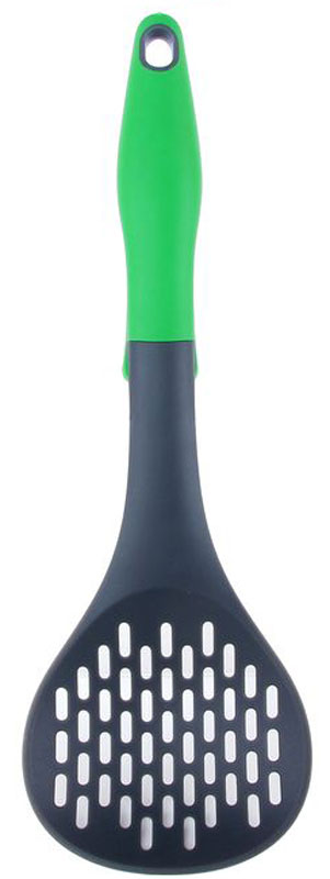 Шумовка Elan Gallery, цвет: серый, зеленый, длина 32 см54 009312Шумовка Elan Gallery, изготовленная из нейлона, поможет в приготовлении и сервировки блюд. Удобная прорезиненная рукоятка оснащена отверстием для подвешивания и имеет специальный упор, чтобы рабочая часть инструмента не загрязняла поверхность стола. Практичная и удобная шумовка Elan Gallery займет достойное место среди аксессуаров на вашей кухне.Длина шумовки: 32 см.Размер рабочей части: 10,5 х 10,5 см.