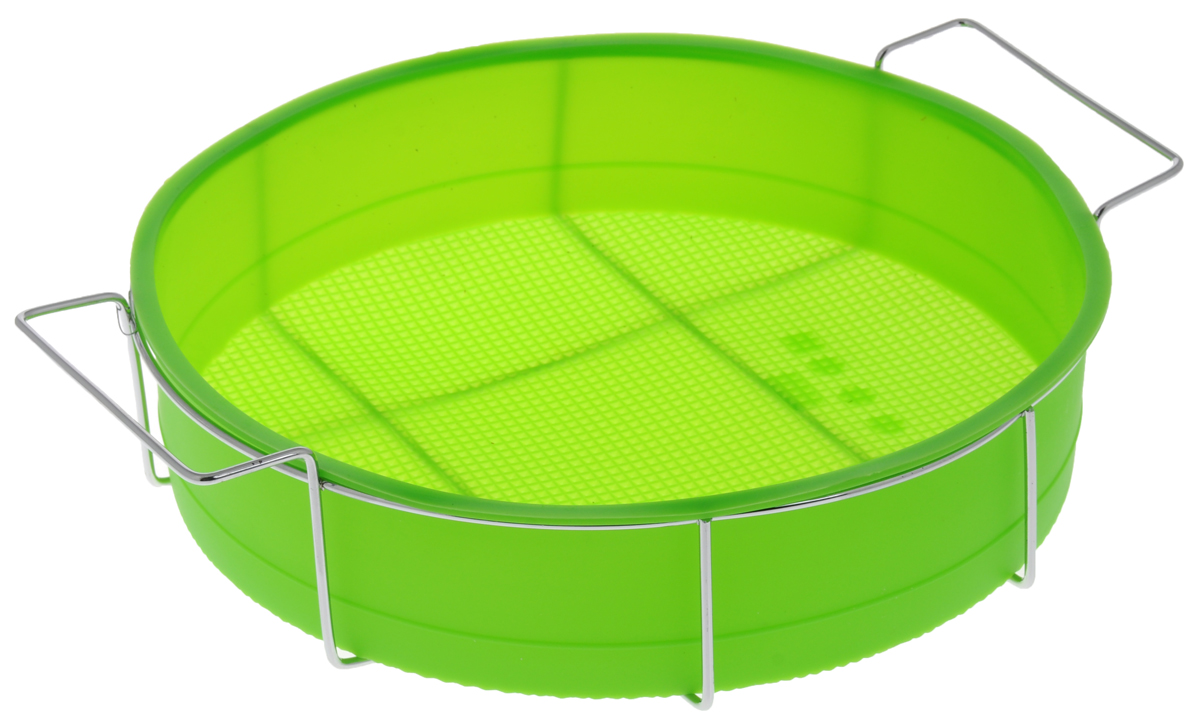 Форма для выпечки Marmiton Круг, силиконовая, на подставке, цвет: зеленый, диаметр 26 см16047_ зеленыйФорма для выпечки Marmiton Круг, выполненная из силикона, предназначена для приготовления выпечки, пудинга, запеканок и желе. Изделие не взаимодействует с продуктами питания и не впитывает запахи, как при нагревании, так и при заморозке. Готовую выпечку или пудинг извлекать из формы легко и просто.С такой формой вы всегда сможете порадовать своих близких оригинальным изделием. Материал устойчив к фруктовым кислотам, может быть использован в духовках и микроволновых печах (выдерживает температуру от 240°C до - 40°C). Можно мыть и сушить в посудомоечной машине. В комплекте металлическая подставка.Диаметр формы: 26 см. Высота формы: 6 см.Размер подставки: 31 см х 25 см х 7,5 см.