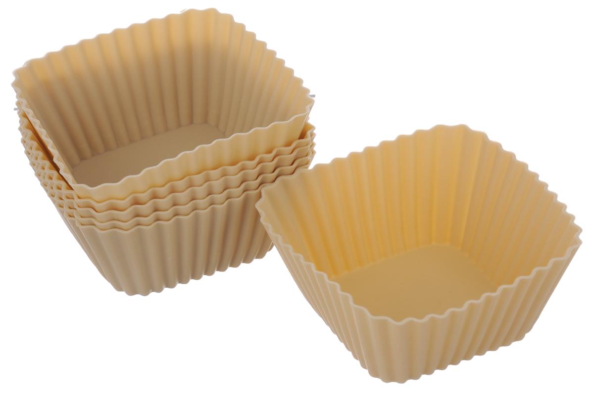 Набор форм для выпечки кексов Calve, цвет: бежевый, 6 штFS-91909НаборCalve состоит из шести квадратных форм для выпечки, выполненных из силикона. Благодаря тому, что форма изготовлена из силикона, готовый лед, выпечку или мармелад вынимать легко и просто.Материал устойчив к фруктовым кислотам, может быть использован в духовках, микроволновых печах и морозильных камерах (выдерживает температуру от -40°C до +230°C). Можно мыть в посудомоечной машине.Размер формы (по верхнему краю): 7 х 7 см.Высота формы: 3,1 см.