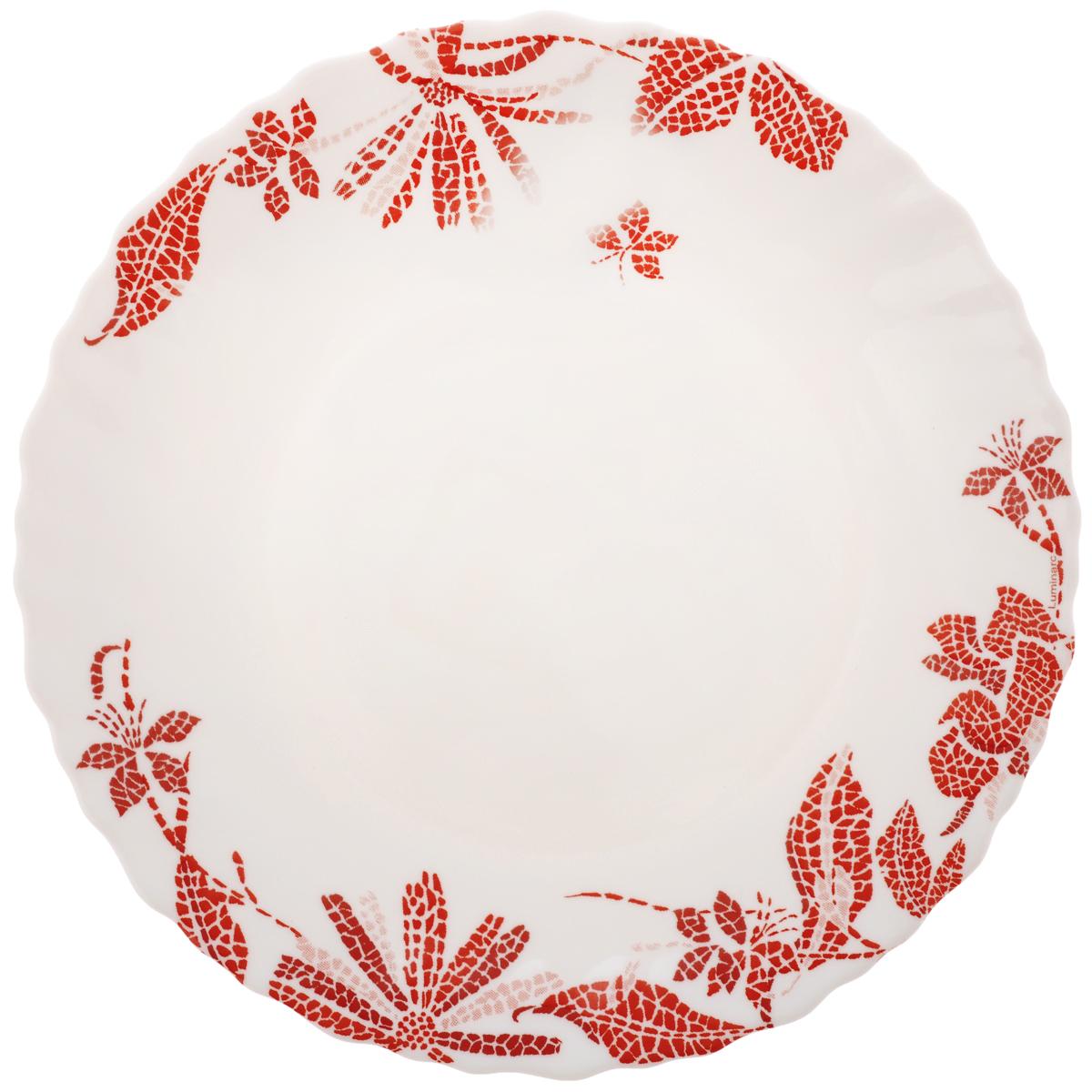 Тарелка десертная Luminarc Romancia, диаметр 18,5 см115510Десертная тарелка Luminarc Romancia, изготовленная из ударопрочного стекла, декорирована изображением цветов. Такая тарелка прекрасно подходит как для торжественных случаев, так и для повседневного использования. Идеальна для подачи десертов, пирожных, тортов и многого другого. Она прекрасно оформит стол и станет отличным дополнением к вашей коллекции кухонной посуды. Диаметр тарелки (по верхнему краю): 18,5 см.