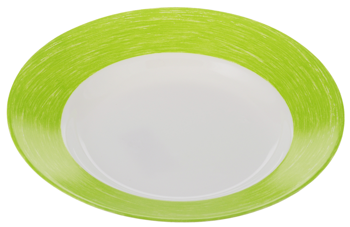 Тарелка суповая Luminarc Color Days, цвет: белый, салатовый, диаметр 22 см069412Суповая тарелка Luminarc Color Days выполнена из ударопрочного стекла. Она прекрасно впишется в интерьер вашей кухни и станет достойным дополнением к кухонному инвентарю. Тарелка Luminarc Color Days подчеркнет прекрасный вкус хозяйки и станет отличным подарком. Можно мыть в посудомоечной машине и использовать в микроволновой печи.Диаметр тарелки: 22 см.