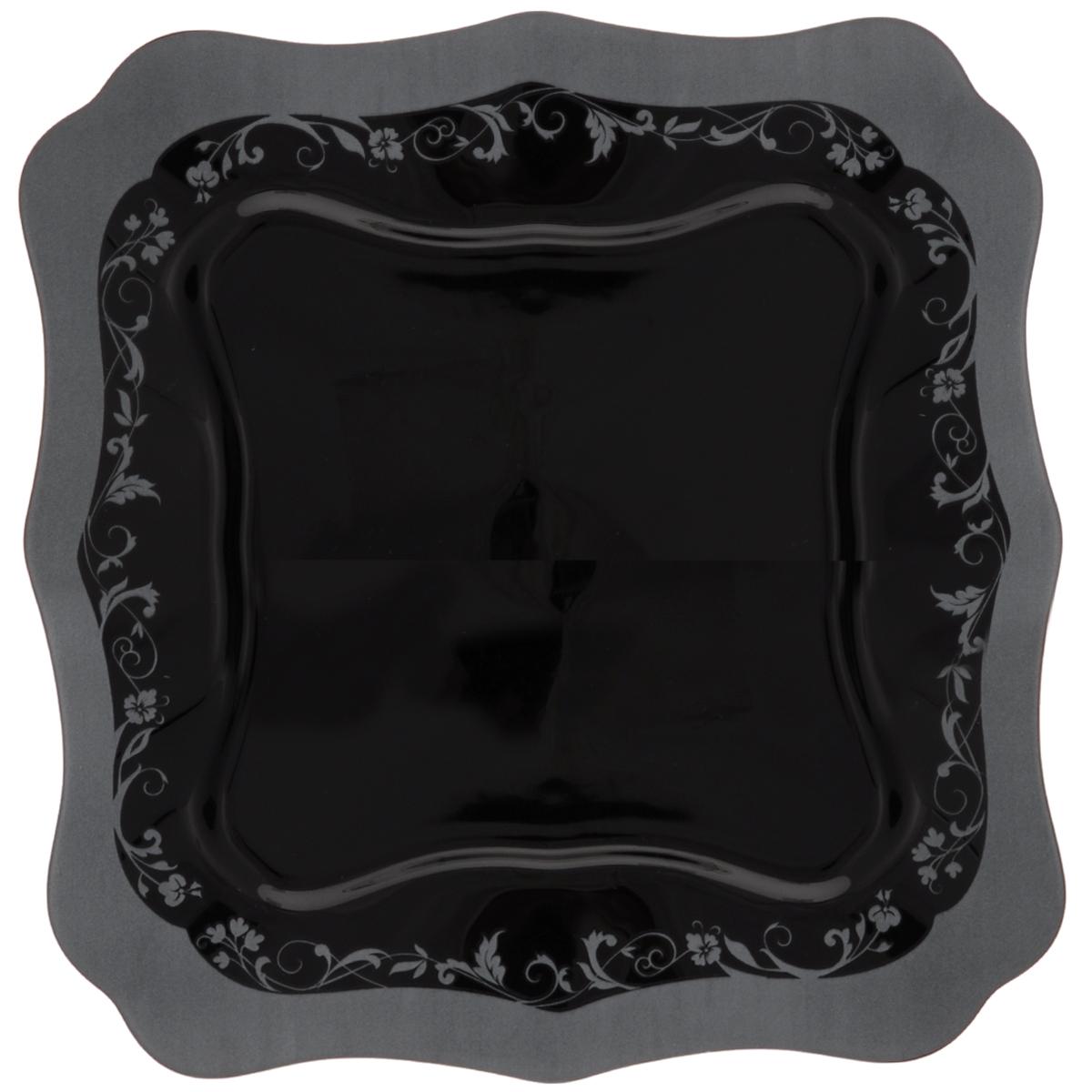 Тарелка обеденная Luminarc Authentic Silver Black, 26 х 26 см10257BОбеденная тарелка Luminarc Authentic Silver Black, изготовленная из высококачественного стекла, имеет изысканный внешний вид. Яркий дизайн придется по вкусу и ценителям классики, и тем, кто предпочитает утонченность. Тарелка Luminarc Authentic Silver Black идеально подойдет для сервировки стола и станет отличным подарком к любому празднику.Размер тарелки (по верхнему краю): 26 х 26 см.