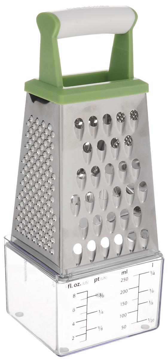 Терка четырехгранная Tescoma Handy, цвет: зеленый, белый, высота 17 см115510Терка Tescoma Handy изготовлена из первоклассной нержавеющей стали и предназначена для быстрого и простого натирания и нарезки на ломтики всех видов продуктов. Всего 4 вида лезвий: крупная терка, мелкая терка, крупная и мелкая шинковка. Сверху изделие оснащено эргономичной пластиковой рукояткой для удобной работы. В комплекте - измерительная емкость для тертого сыра и жидкостей.Каждая хозяйка оценит все преимущества этой компактной терки. Очень практичный и современный дизайн делает изделие весьма простым в эксплуатации.Можно мыть в посудомоечной машине. Высота терки (с учетом ручки): 19 см. Размер емкости: 7,5 х 8,5 х 6 см.