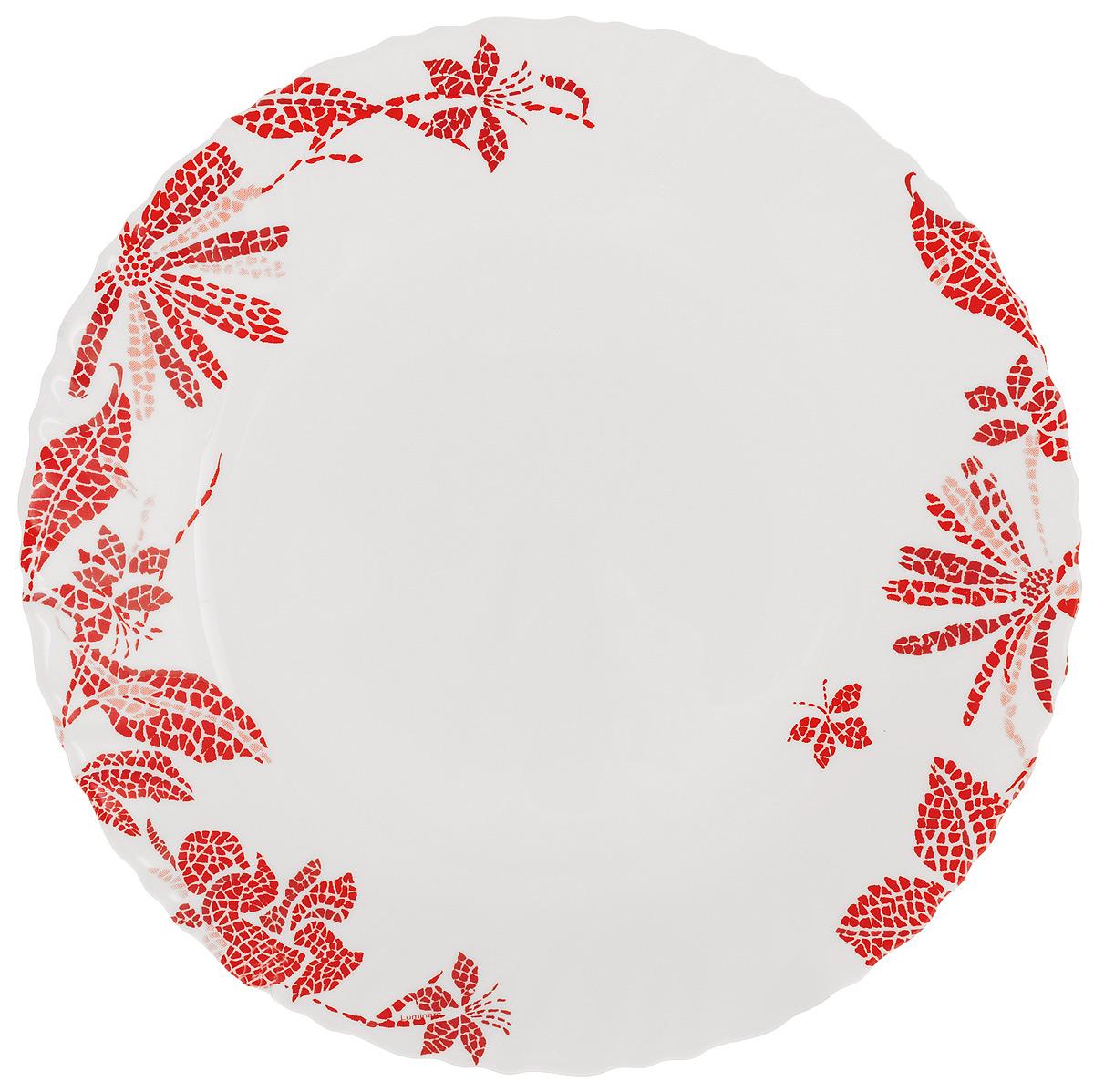 Тарелка обеденная Luminarc Romancia, диаметр 25 см54 009312Обеденная тарелка Luminarc Romancia, изготовленная из высококачественного стекла, имеет изысканный внешний вид. Яркий дизайн придется по вкусу и ценителям классики, и тем, кто предпочитает утонченность. Тарелка Luminarc Romancia идеально подойдет для сервировки стола и станет отличным подарком к любому празднику.Диаметр (по верхнему краю): 25 см.