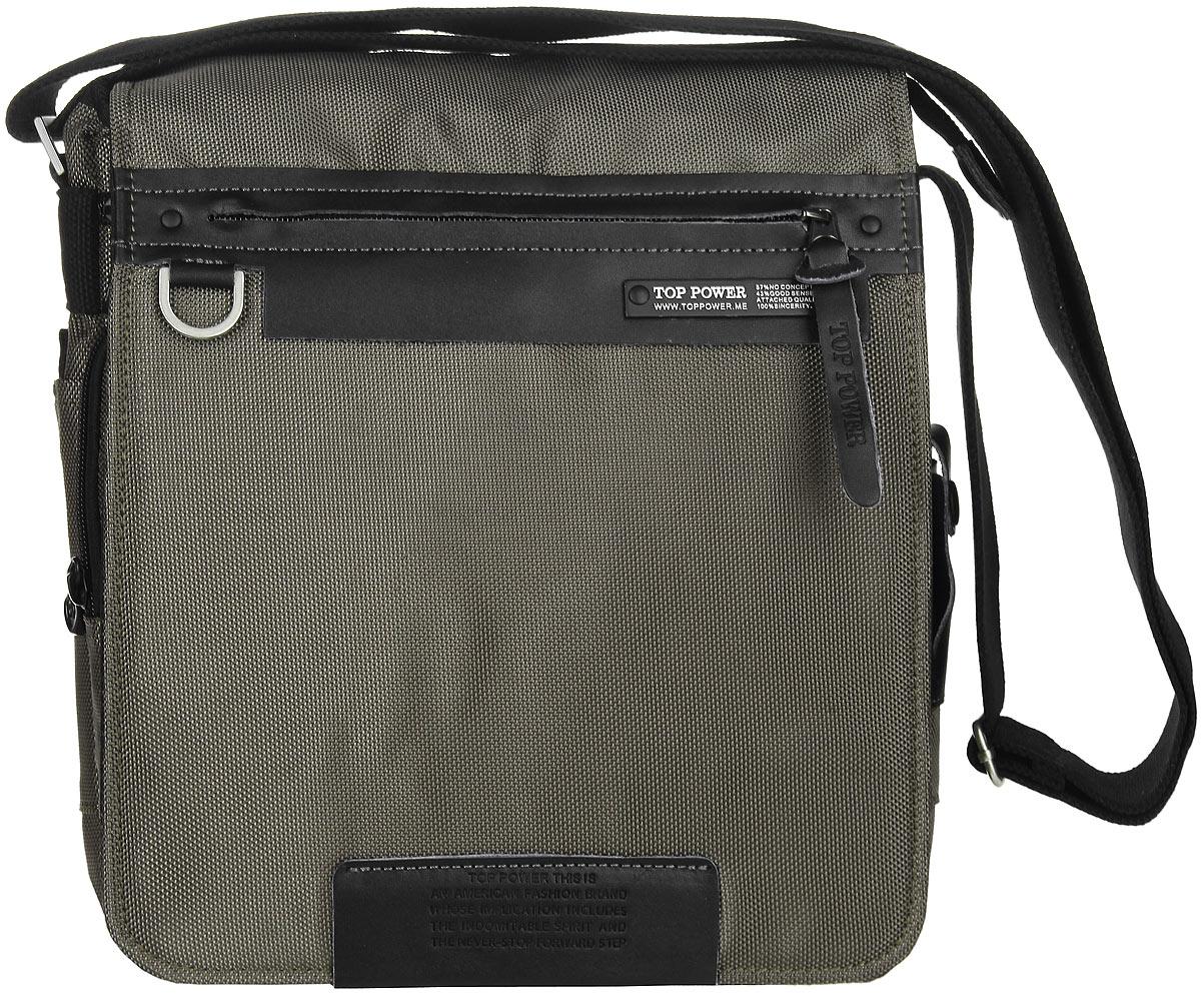 Сумка-планшет мужская Top Power, цвет: хаки, черный. 640 TP71069с-2Стильная мужская сумка-планшет Top Power выполнена из плотного полиэстера и натуральной кожи. Изделие имеет одно основное отделение, которое закрывается на застежку-молнию.Внутри находится накладной карман на застежке-молнии, два накладных открытых кармана, два держателя для авторучек и карман для телефона, закрывающийся на клапан с застежкой-липучкой. Закрывается изделие на клапан с застежкой-липучкой. Внешняя сторона клапана оснащена прорезным карманом на застежке-молнии. Под клапаном расположен мягкий карман для планшета на застежке-молнии, накладной карман на застежке-молнии, два открытых накладных кармана и два держателя для авторучек.Снаружи, по бокам предусмотрены накладные карманы на застежках-липучках. Также на одной из боковых сторон расположен кармашек с прозрачным окошком, закрывающийся на хлястик с застежкой-кнопкой. На задней стенке располагается прорезной карман на застежке-молнии. Сумка оснащена текстильным плечевым ремнем регулируемой длины.Удобная и стильная сумка-планшет Top Power призвана подчеркнуть ваш неповторимый стиль.