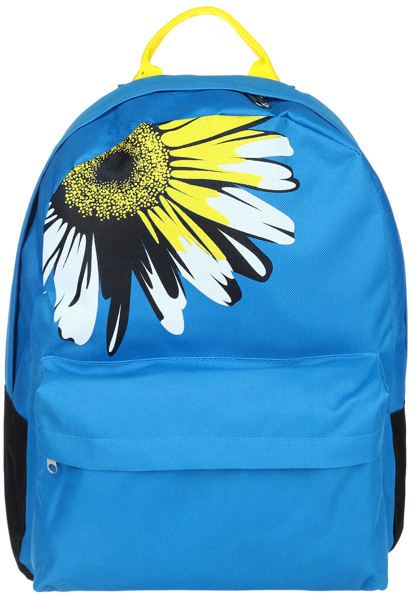 Рюкзак женский Antan, цвет: голубой, черный, желтый. 6-7S76245Стильный женский рюкзак Antan изготовлен из текстиля и оформлен изображением цветка. Изделие имеет одно отделение, которое закрывается на застежку-молнию с двумя бегунками. Внутри расположен мягкий карман для планшета. Снаружи, на передней стенке расположен объемный накладной карман на застежке-молнии. Изделие оснащено двумя лямками регулируемой длины с мягкой подкладкой и удобной ручкой. Такой рюкзак эффектно дополнит ваш образ и станет незаменимым в повседневной жизни или в путешествии.