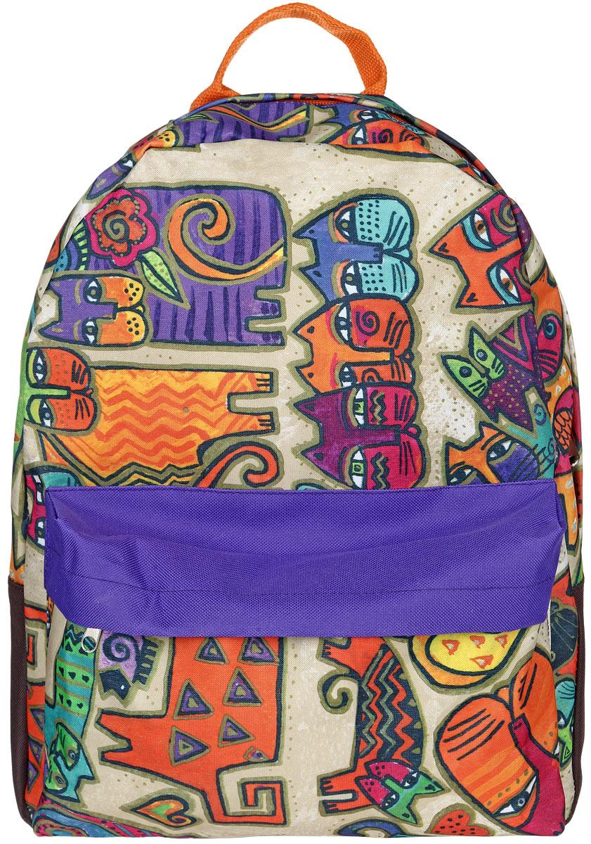 Рюкзак женский Antan, цвет: оранжевый, фиолетовый, бежевый. 6-7S76245Стильный женский рюкзак Antan изготовлен из текстиля с оригинальным принтом. Изделие имеет одно отделение, которое закрывается на застежку-молнию с двумя бегунками. Внутри расположен мягкий карман для планшета. Снаружи, на передней стенке расположен объемный накладной карман на застежке-молнии. Изделие оснащено двумя лямками регулируемой длины с мягкой подкладкой и удобной ручкой. Такой рюкзак эффектно дополнит ваш образ и станет незаменимым в повседневной жизни или в путешествии.