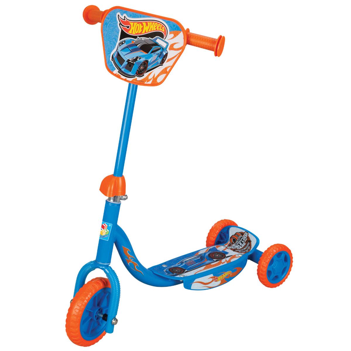 1TOY Самокат детский трехколесный Hot Wheels с декоративной панелью, Solmar Pte Ltd