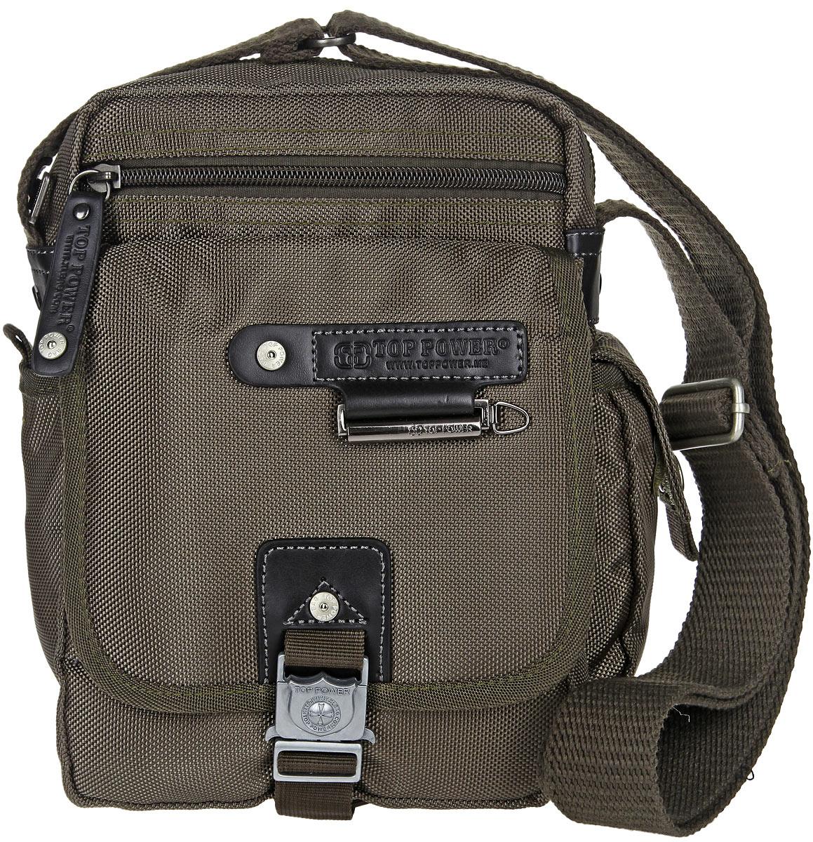 Сумка-планшет мужская Top Power, цвет: хаки. 1385 TPS76245Стильная мужская сумка-планшет Top Power выполнена из нейлона, полиэстера и искусственной кожи. Изделие имеет одно основное отделение, которое закрывается на застежку-молнию. Внутри находится прорезной карман на застежке-молнии, два накладных открытых кармана и накладной карман, закрывающийся на клапан с застежкой-липучкой. Снаружи, на передней стенке располагается прорезной карман на застежке-молнии, под клапаном с застежкой-защелкой - два накладных открытых кармана и два держателя для авторучек. По бокам накладные карманы, один из которых закрывается на застежку-липучку, второй - на клапан с застежкой-липучкой. На задней стенке предусмотрен дополнительный прорезной карман на застежке-молнии. Сумка оснащена текстильным плечевым ремнем регулируемой длины. Удобная и стильная сумка Top Power призвана подчеркнуть ваш неповторимый стиль.