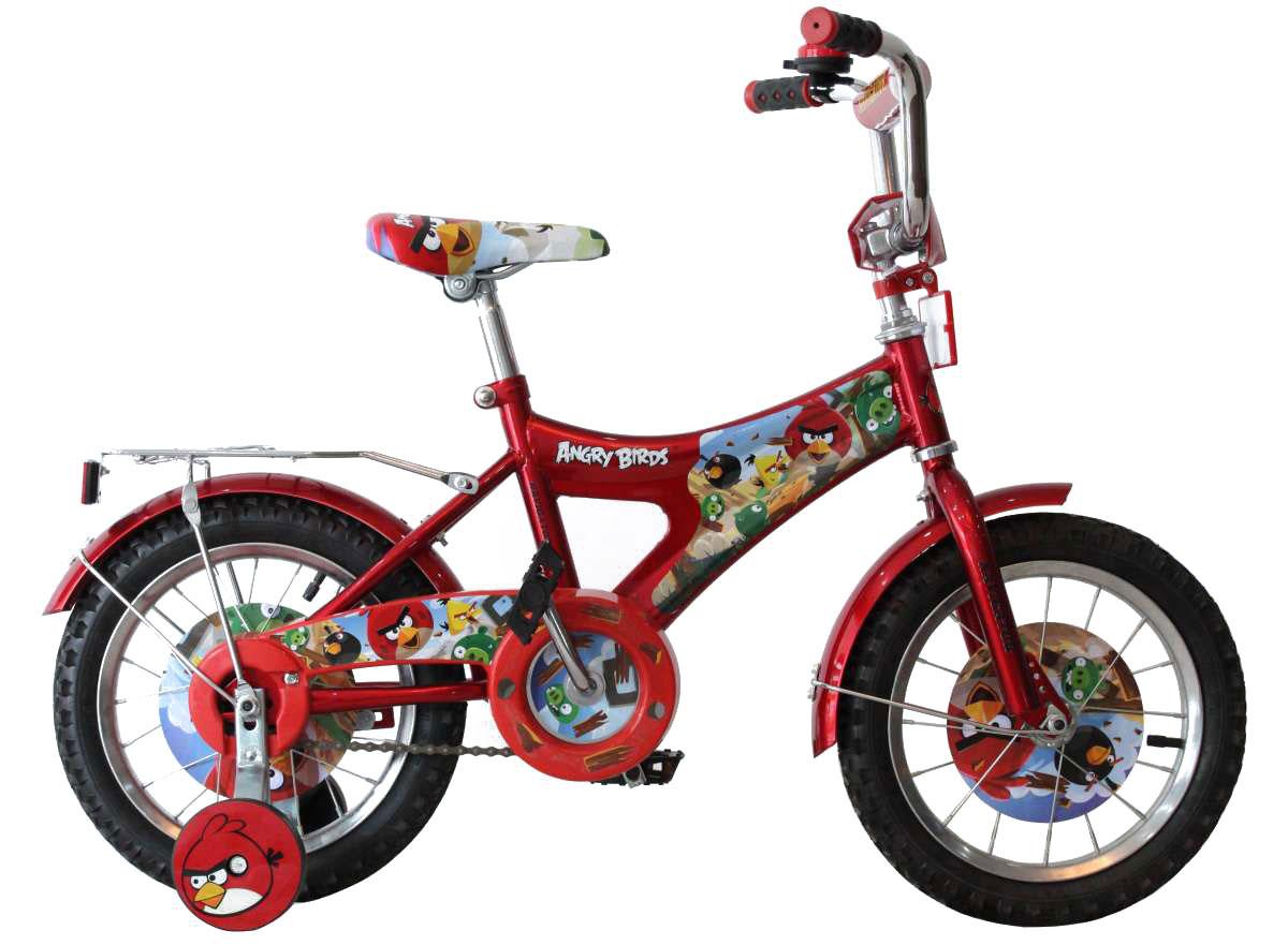 Navigator Велосипед детский Angry Birds цвет красныйВН14061Велосипед двухколесный Navigator Angry Birds оснащен очень прочной стальной рамой. Сиденье и руль регулируются по высоте и надежно фиксируются, благодаря чему велосипед достаточно долго будет соответствовать росту ребенка. На руле имеются мягкие накладки. Ноги и одежда защищены от контакта с цепью специальной накладкой. Педали с рифленой поверхностью предотвращают скольжение ног. От падения на слишком крутых виражах предохраняет пара дополнительных съемных колес. Велосипед Navigator Angry Birds - это отличный способ дать вашему ребенку возможность чаще бывать на свежем воздухе, много двигаясь с пользой для здоровья.Особенности: Сиденье и руль регулируются по высоте. Сиденье эргономичной формы. Жесткая конструкция вилки. Педали с рифленой поверхностью. Широкие страховочные колёса. Мягкая накладка на руле. Защита цепи. Диаметр колес: 14 дюймов.