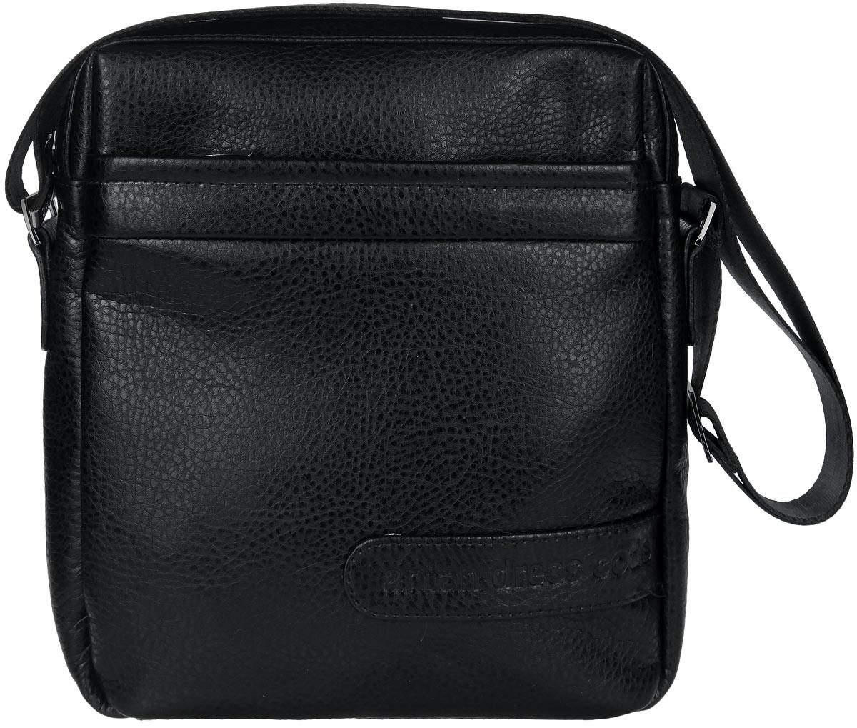 Сумка мужская Antan, цвет: черный. 8-971069с-2Стильная мужская сумка Antan изготовлена из искусственной кожи.Модель имеет одно основное отделение, закрывающееся на застежку-молнию. Внутри имеется прорезной карман на застежке-молнии и два накладных открытых кармана. Снаружи, на передней и задней стенках расположены накладные карманы на застежках-молниях.Изделие оснащено текстильным плечевым ремнем, который регулируется по длине. Сумка Antan поможет вам подчеркнуть чувство стиля и завершить выбранный образ.