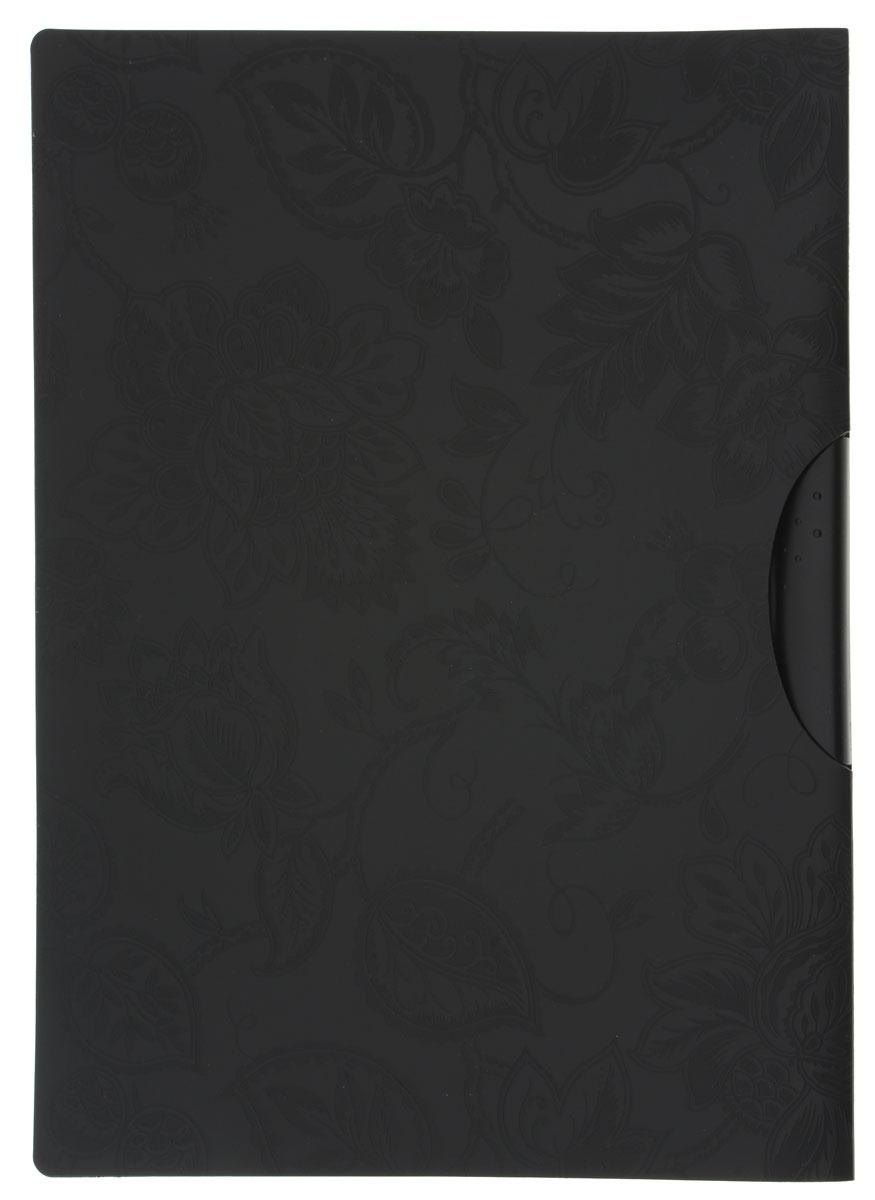 Centrum Папка с клипом цвет черный формат A4AC-1121RDПапка с клипом Centrum станет вашим верным помощником дома и в офисе. Это удобный и функциональный инструмент, предназначенный для хранения и транспортировки рабочих бумаг и документов формата А4.Папка изготовлена из прочного высококачественного пластика, оснащена боковым клипом, позволяющим фиксировать неперфорированные листы. Уголки имеют закругленную форму, что предотвращает их загибание и помогает надолго сохранить опрятный вид обложки. Папка оформлена тиснением с цветочным рисунком. Папка - это незаменимый атрибут для любого студента, школьника или офисного работника. Такая папка надежно сохранит ваши бумаги и сбережет их от повреждений, пыли и влаги.