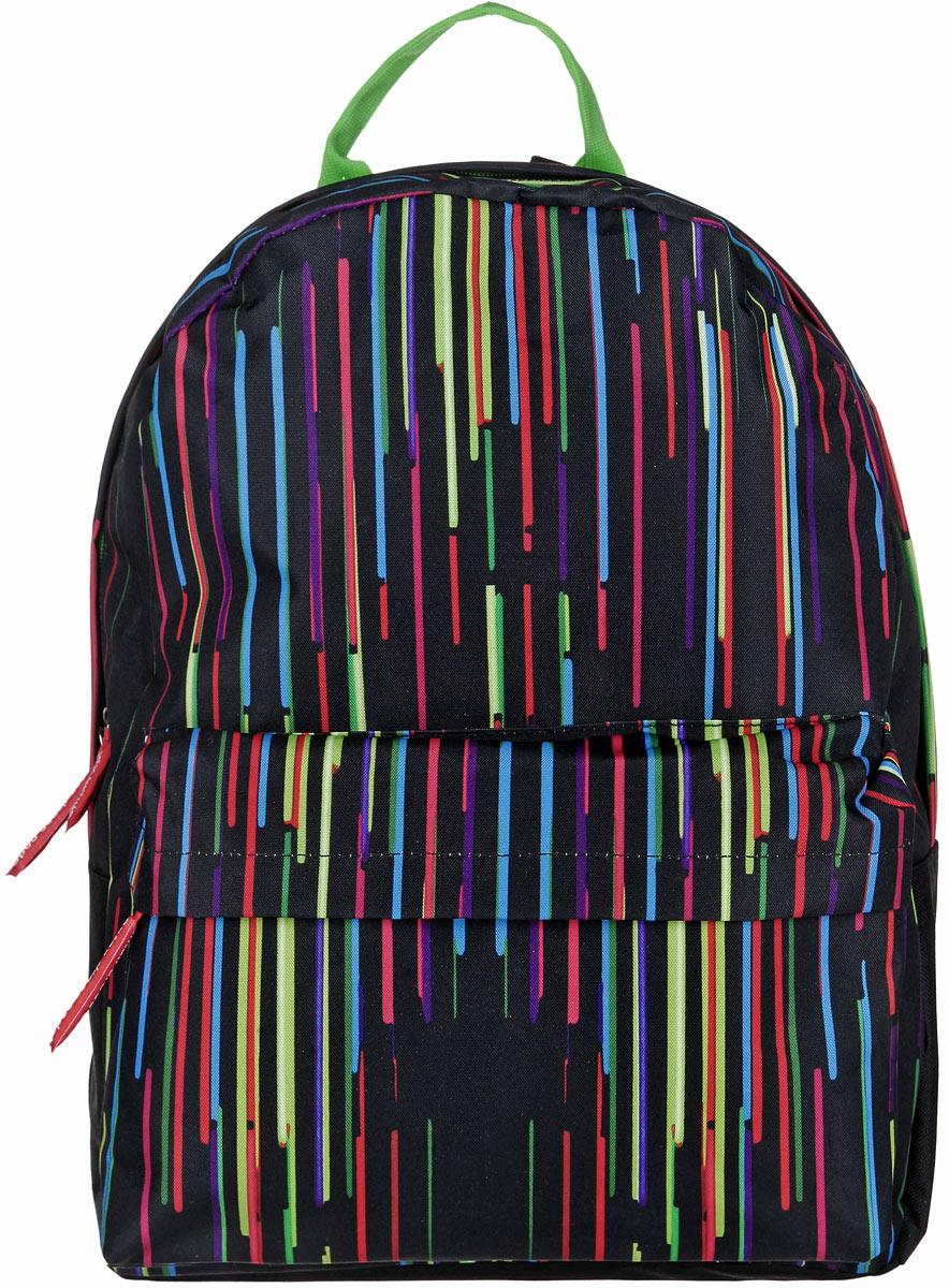 Рюкзак Antan, цвет: черный, салатовый, голубой. 6-7747998-101Стильный рюкзак Antan изготовлен из текстиля с оригинальным ярким принтом. Изделие имеет одно отделение, которое закрывается на застежку-молнию с двумя бегунками. Внутри расположен мягкий карман для планшета. Снаружи, на передней стенке расположен объемный накладной карман на застежке-молнии. Изделие оснащено двумя лямками регулируемой длины с мягкой подкладкой и удобной ручкой. Такой рюкзак эффектно дополнит ваш образ и станет незаменимым в повседневной жизни или в путешествии.