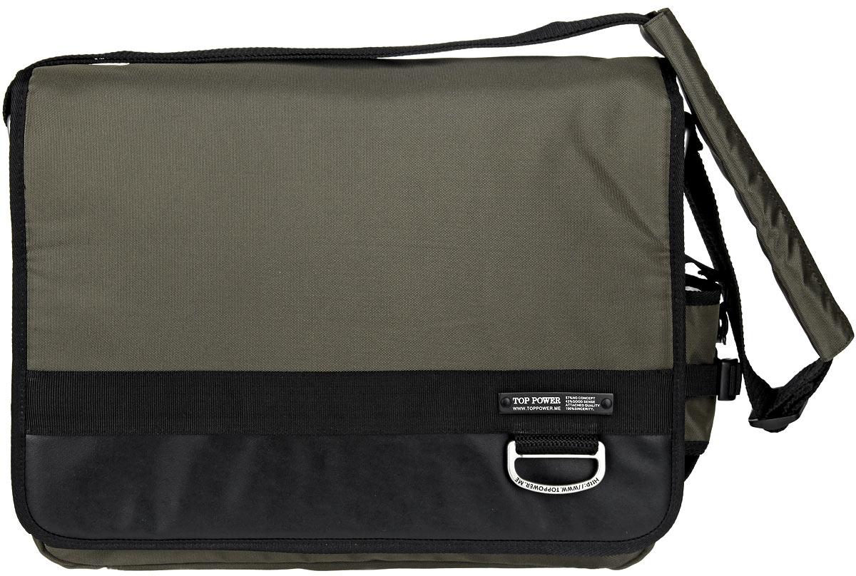 Сумка-планшет мужская Top Power, цвет: хаки. 947 TPKV996OPY/MСтильная мужская сумка-планшет Top Power выполнена из плотного полиэстера, нейлона и натуральной кожи. Сумка имеет одно вместительное отделение, закрывающееся на застежку-молнию. Внутри находится прорезной карман на застежке-молнии. Закрывается изделие на клапан с застежкой-липучкой. На передней стенке, под клапаном, находится накладной карман на застежке-молнии, три держателя для авторучек, четыре накладных открытых кармана, один из которых закрывается на застежку-липучку. На задней стенке сумки расположен дополнительный прорезной карман на застежке-молнии. На одной из боковых сторон находится накладной карман, закрывающийся на эластичный шнурок со стоппером. Сумка оснащена текстильным плечевым ремнем регулируемой длины.Стильная сумка - необходимый аксессуар для современного мужчины.