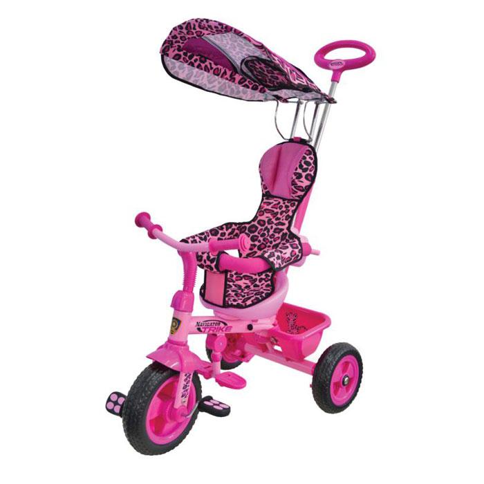 Велосипед Navigator Lexus Trike серия Сафари 3-х колесный Пластиковые колеса, свободный ход педалей, тяга, независимая управляющая ручка, тент, регулируемое сиденье, подножка, тормоз, страховочный обод, звонок, корзина, сумка.